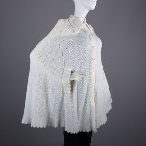 Cuddle Knit Sweaters - Vintage 60s Button Up Shawl Cape Pin Up Poncho